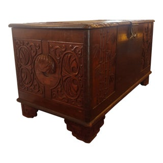 1940s Vintage Hand-Carved Trunk
