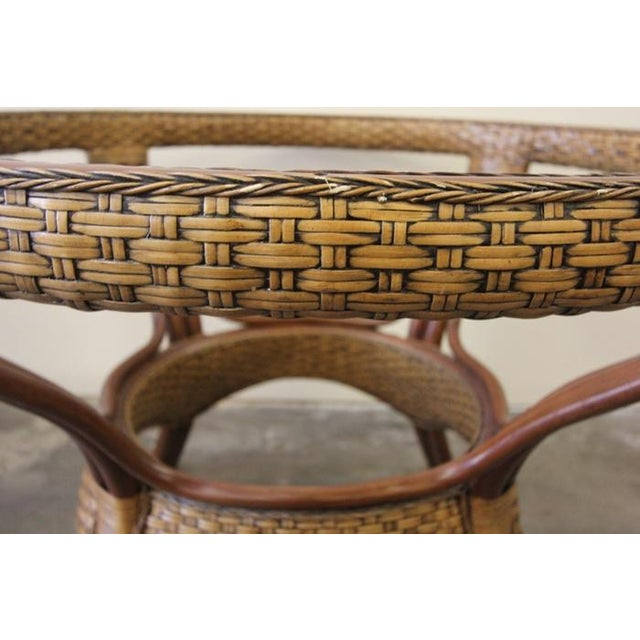 Wicker & Glass Top Dining Table - Image 7 of 8