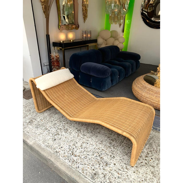 1970s Italian Rattan Chaise Longue Lounger Chair P3 by Tito Agnoli For Sale - Image 6 of 11
