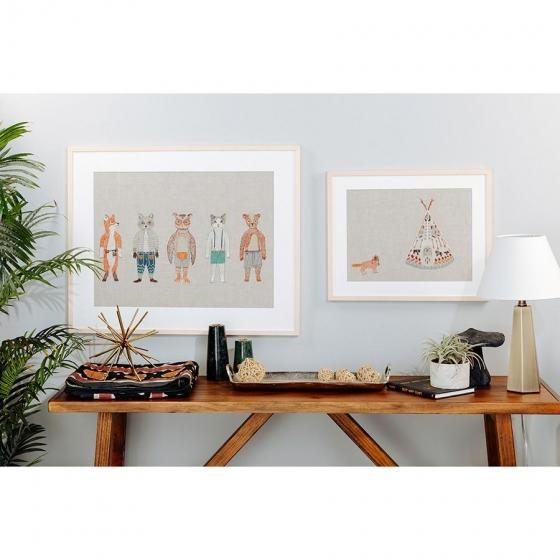 Contemporary Tipi and Fox Framed Art For Sale - Image 4 of 5
