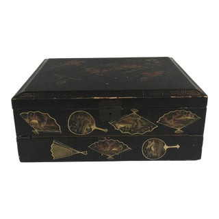 Black Lacquer Asian Writing Chest For Sale