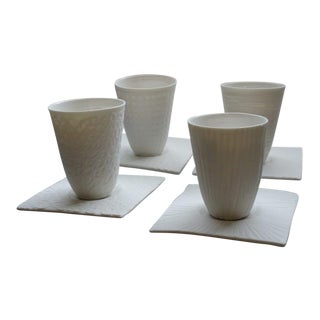 Graphik Espresso Cups and Saucers - Set of 4 For Sale