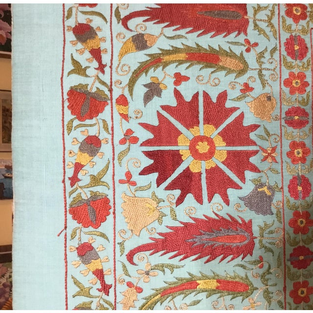 Vintage Hand Embroidery Suzani Screen For Sale - Image 10 of 13