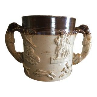 Antique English Salt Glaze Hunting Scene Loving Cup For Sale