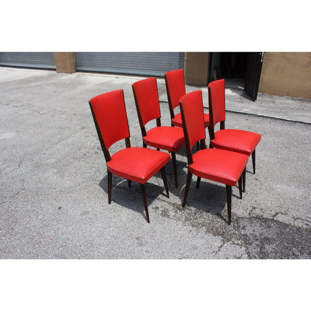 Beautiful Set of 5 French Art Deco dining chairs solid mahogany ,the chair frames are in excellent condition. the vinyl...