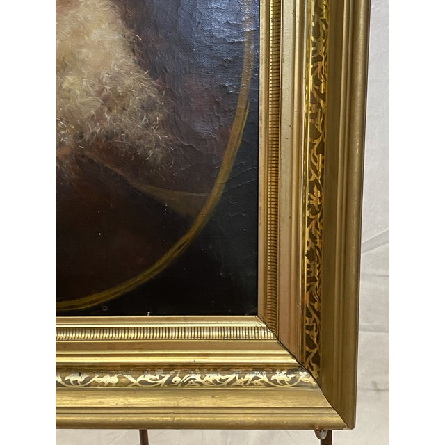 Canvas Antique 19th C. Oil on Canvas Portrait of a Jewish Man Hebrew Beautiful Frame For Sale - Image 7 of 12