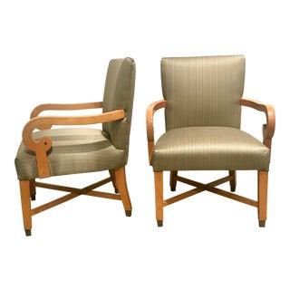 1960s Biedermeier Revival Open Arm Chairs - a Pair For Sale