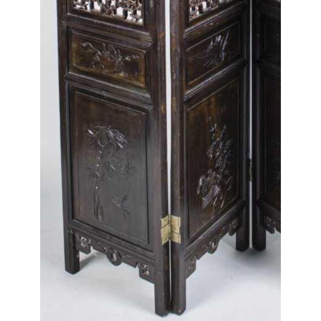 Vintage Chinese Hardwood Carved Four Panel Screen For Sale - Image 4 of 5