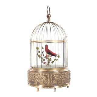 Red Bird Singing in Cage German Brass Music Box For Sale