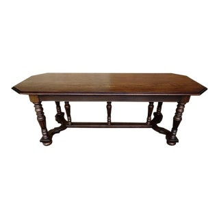 Vintage French Jacobean Revival Style Oak X-Stretcher Trestle Dining Table For Sale