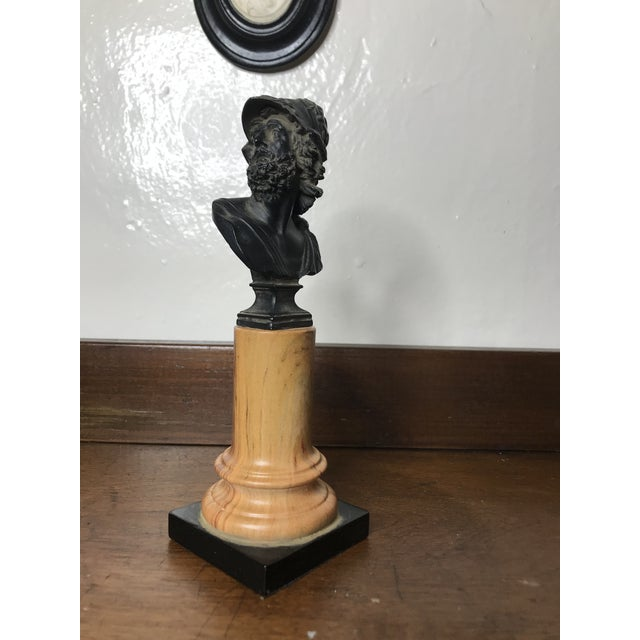 20th Century Grand Tour Tall Marbleized Column With Roman Warrior Bust For Sale - Image 11 of 12