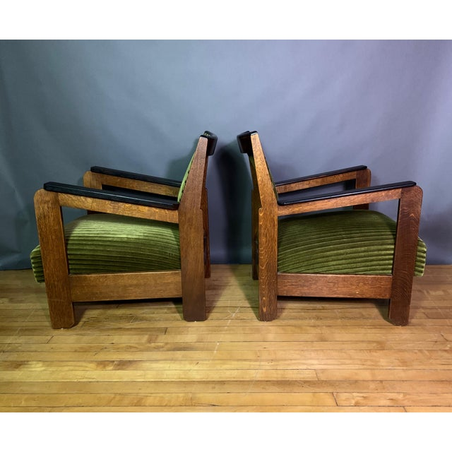 Arts & Crafts Pair 1940s Wenge Wood Armchairs, Corduroy & Rosewood For Sale - Image 3 of 11