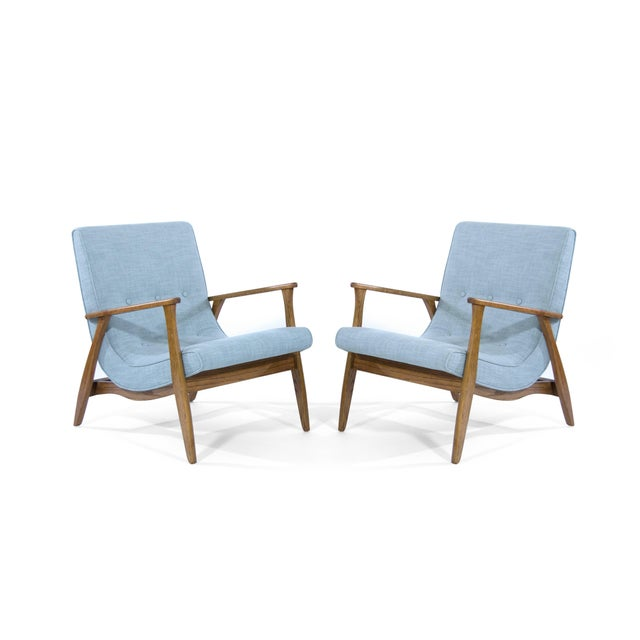 Mid 20th Century Modernist Scoop Oak Linen Upholstered Lounge Chairs - a Pair For Sale - Image 5 of 10