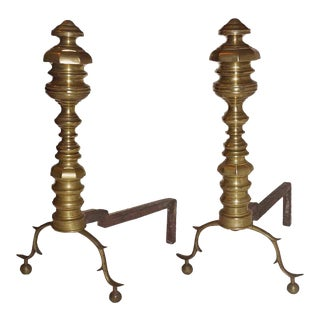 Late 19th Century Brass Beehive Andirons Having Spurred Cabriole Legs and Ball Feet - a Pair For Sale
