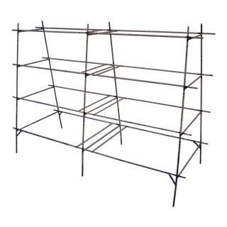 Industrial Modern Iron Rebar Shelf Rusty Yellow Display Bookcase Bookshelf Rack