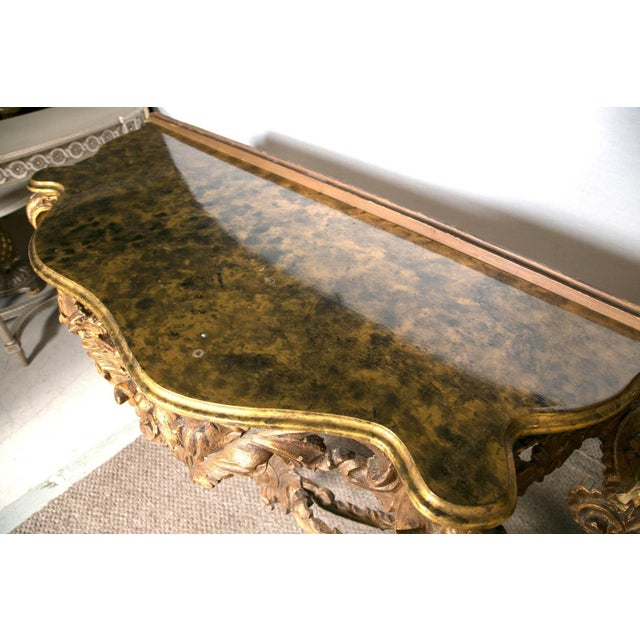 Italian Giltwood Consoles with Faux Marble - Pair For Sale - Image 7 of 7