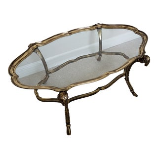 1990s Grand Tour Solid Brass Labarge Oval Cocktail Table For Sale