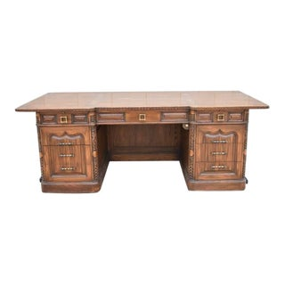 1970s Traditional Romweber Oak Executive Desk For Sale