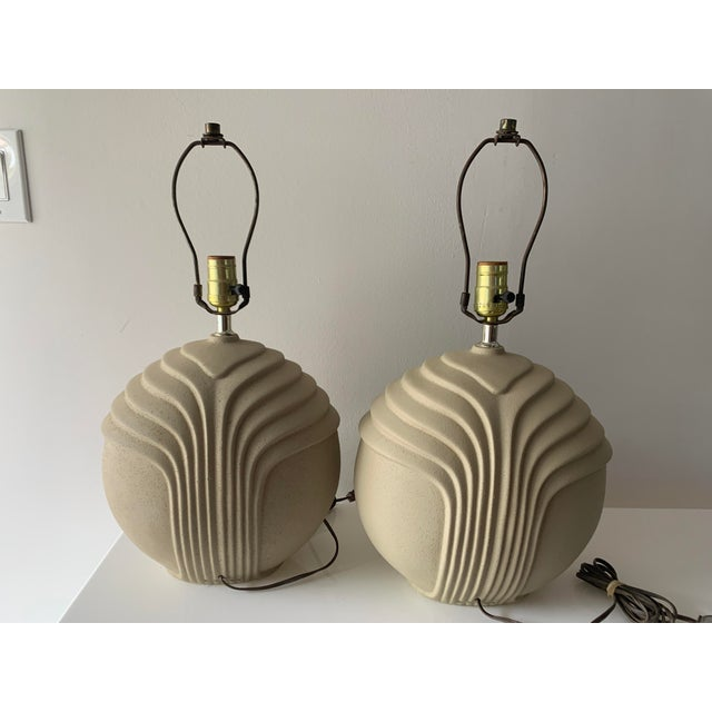 Plaster 1980's Art Deco Style Plaster Table Lamps - a Pair For Sale - Image 7 of 10