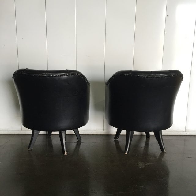 Monteverdi Style Mid-Century Tufted Chesterfield Swivel Chairs- A Pair - Image 4 of 7