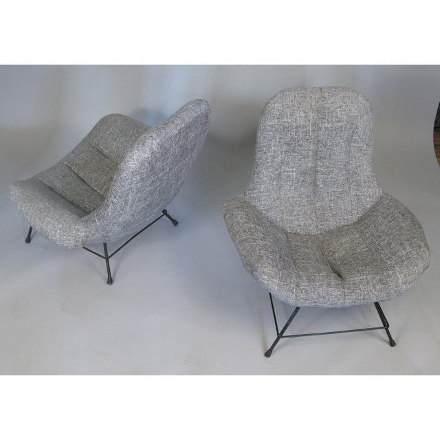 Textile 1950s Italian Lounge Chairs- A Pair For Sale - Image 7 of 8
