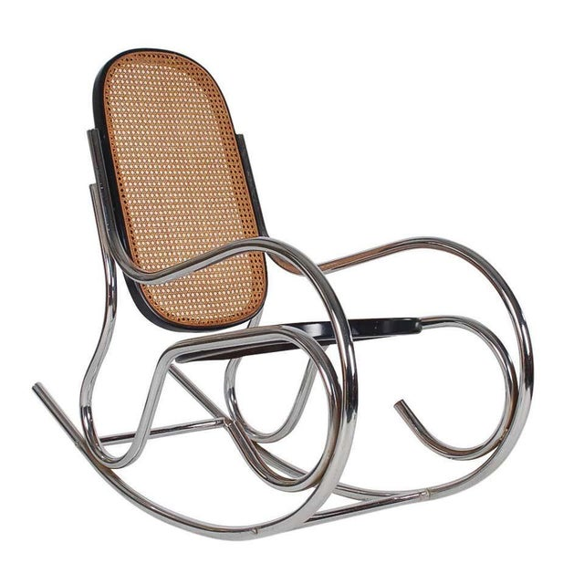 1970s Mid-Century Scrolled Chrome and Cane Rocking Chairs - a Pair For Sale - Image 4 of 10