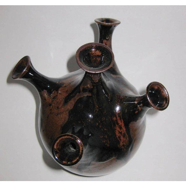 Studio Pottery Five-Chimney Weed Pot Vase With Drip Glaze For Sale - Image 5 of 8