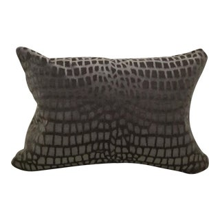 Lee Jofa Brown/Graphite/Blue Crocodile Velvet Lumbar Pillow For Sale