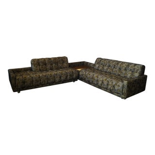 "Vintage Kroehler Tufted ""Camoflauge"" Sectional With Corner Table For Sale"