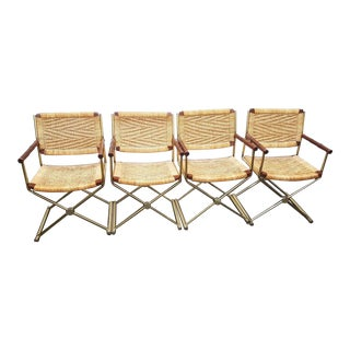 Mid-Century Modern Wicker Rattan Brass Director's Chairs- Set of 4 For Sale