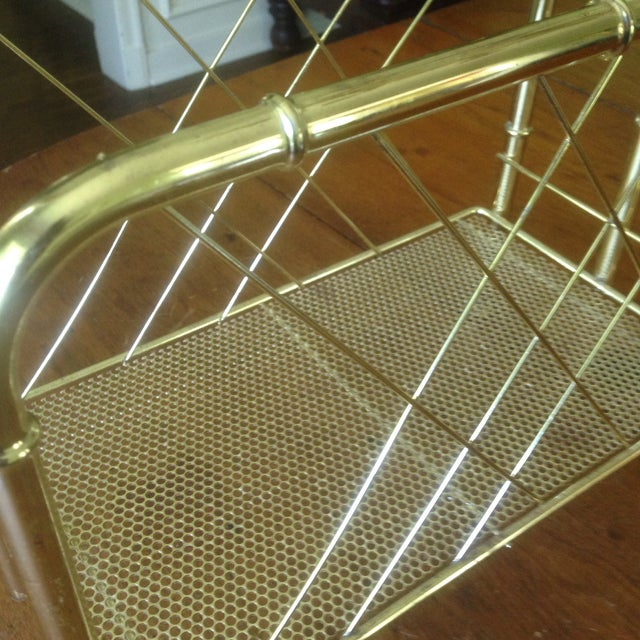 Vintage Faux Bamboo Gold Magazine Rack For Sale - Image 5 of 11