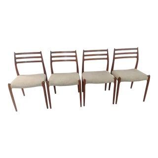 Vintage J L Mollers Danish Side Dining Chairs # 78 Teak - Set of 4 For Sale