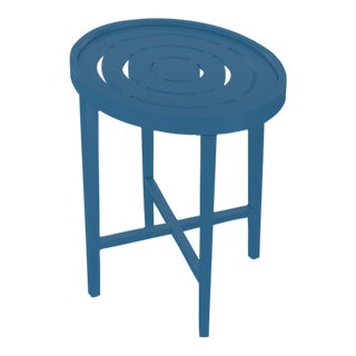 Oomph On the Rocks Oval Outdoor Side Table, Blue For Sale