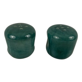 Vintage Russel Wright American Modern Salt and Pepper Shakers in Cedar Green - a Pair For Sale