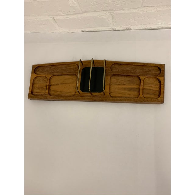 Mid Century Modern walnut desk organizer is just what you need if you're still working from home! Keep your work area...