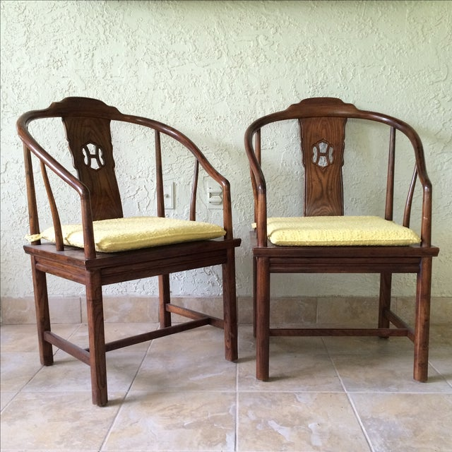 Pair of high quality Henredon Chinoiserie-style elm wood chairs with cane seats. Custom cushions are buttercup yellow raw...