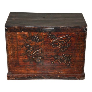 Antique Chinese Hand Painted Carved Elm Wood Chest/Trunk For Sale