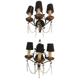 Maison Jansen Style Sconces With Hanging Crystals - a Pair For Sale