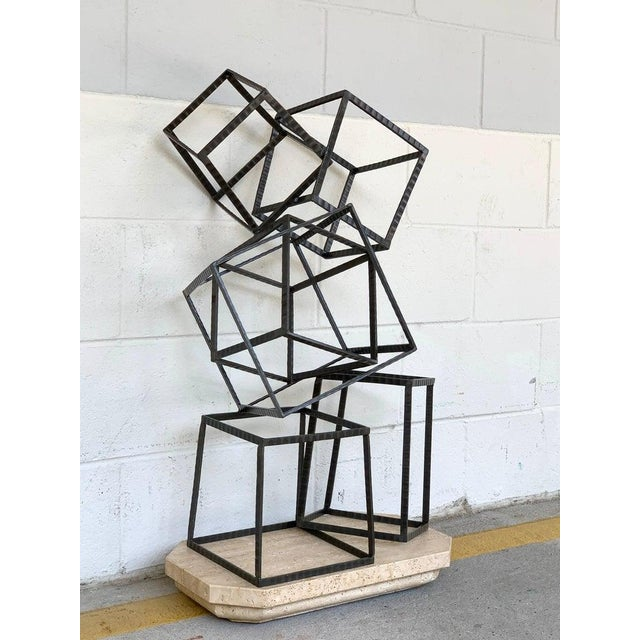 Black Modern Forged Iron & Travertine Quadrilaterals Sculpture For Sale - Image 8 of 11