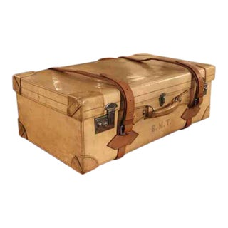 French Vellum Trunk It Has a Beautiful Patina and Can Be Used for Travel as Well as a Very Elegant Piece of Decoration Its Interior Is All Original For Sale