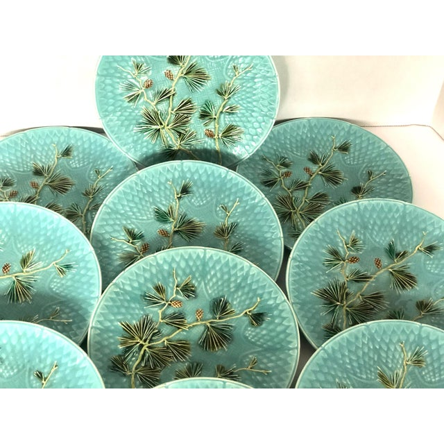 Late 19th Century Late 19th Century Antique French Majolica Turquoise Plates by Sarreguemines - Set of 10 For Sale - Image 5 of 11