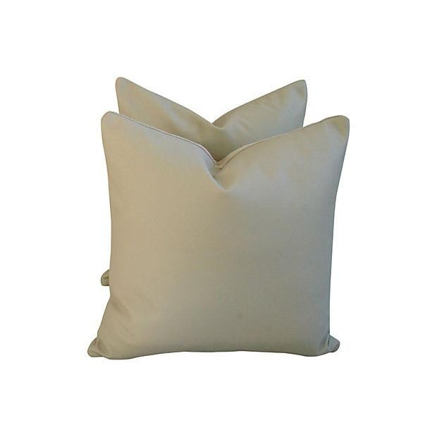 Genuine Italian Sandy Putty Leather Pillows - Pair - Image 3 of 5