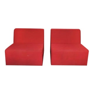 Modern Turnstone Red Cushioned Lounge Chairs - a Pair