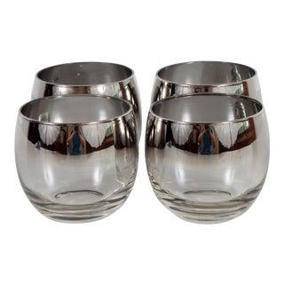 Vintage Mid Century Modern Dorothy Thorpe Silver Rim Whiskey Tumblers - Set of 4 For Sale