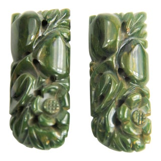 Vintage Carved Bakelite Creamed Spinach Green Flower Dress Clips - a Pair For Sale