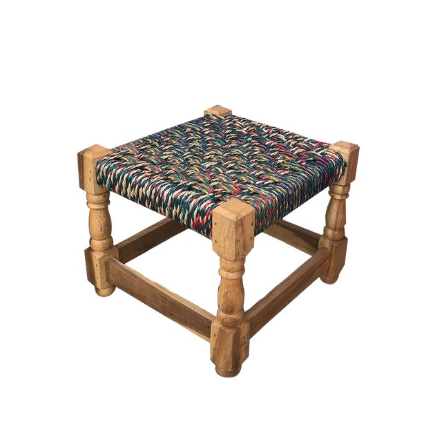 Mid Century Modern Colorful Woven Stool For Sale