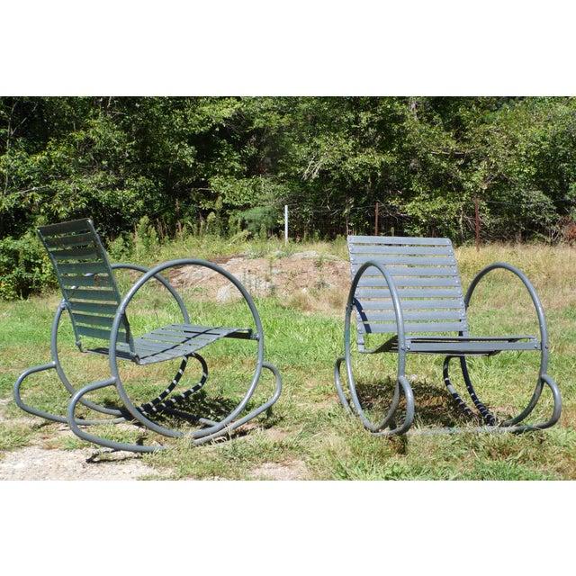 Art Deco Patio Metal Hoop Rocking Chairs - A Pair - Image 10 of 10