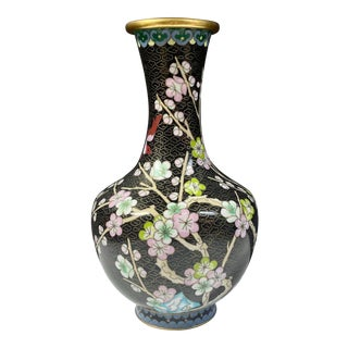 Vintage Chinese Cloisonné Gourd Vase With Flowers and Birds For Sale