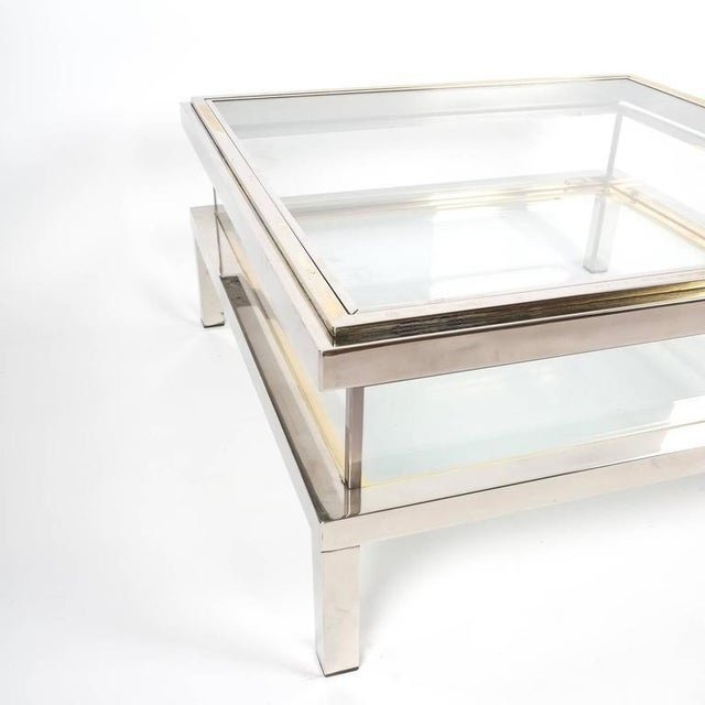 Mid-Century Modern Refurbished Maison Jansen Brass and Chrome Coffee Table with Interior Display For Sale - Image 3 of 8