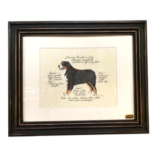 Hand Colored Framed Print of a Burmese Mountain Dog For Sale